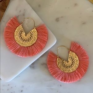 BOGO! Coral Fan Fringe Earrings